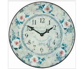 Floral Roses Wall Clock Blue Pink Shabby Retro Kitchen