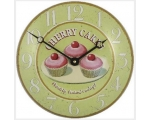 Cherry Cakes Cupcakes Enamel Wall Clock Pink Gre..