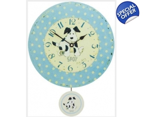 Spot Dog Blue Polka Dot Wall Clock Nursery Pendulum