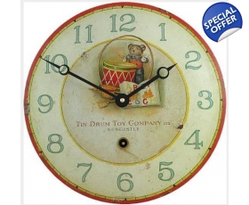 Teddy Drum Enamel Wall Clock Vintage Nursery Playroom