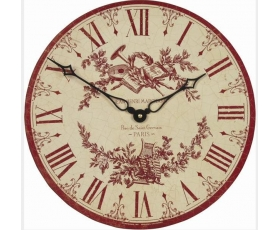 Toile de Jouy Wall Clock Red Pink Vintage Style Roger Lascelles