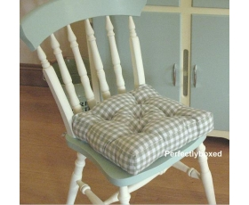 Seat Pad Green Gingham Check Retro Kitchen Garden Farmhouse