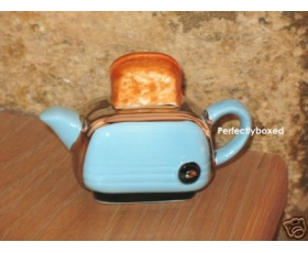 Toaster Miniature Teapot Blue Retro Ceramic Collectable