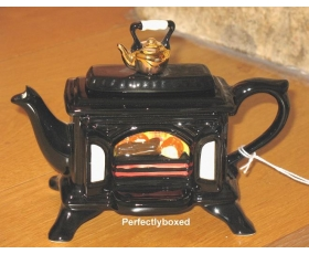 Woodburner Stove Teapot Black Ceramic Collectable One cup Fireplace