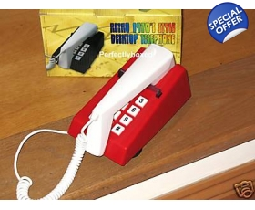 Steepletone Trim Phone Red White Push Button Retro 70s
