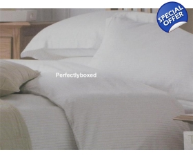 White Cream Stripe Double Duvet Sashi Tuscany Percale 310 TC