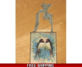 Victorian Postcard Swallows Blue Flower Metal Sign