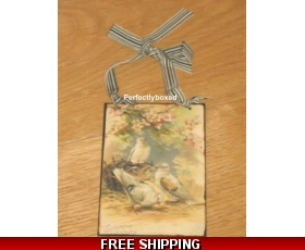 Victorian Postcard Three White Birds Metal Sign