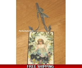 Victorian Postcard Angel Wreath Metal Sign