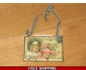 Victorian Postcard Girl Pink Flowers Metal Sign