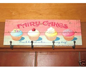 Wiscombe Coat Apron 4 Hook fairy cakes Plaque Retro