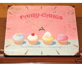 Wiscombe Kitchen Wall Clock Fairy Cakes Pink Retro