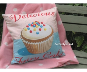 Wiscombe Delicious Fairy Cakes Cushion Cover Vintage Retro