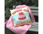 Wiscombe Raspberry Jelly Cushion Cover Vintage R..