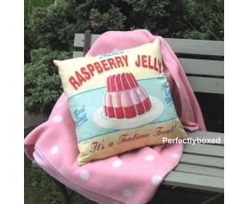 Wiscombe Raspberry Jelly Cushion Cover Vintage Retro