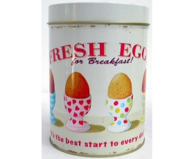 Wiscombe Fresh Eggs Storage Tin Retro tea sugar cannister