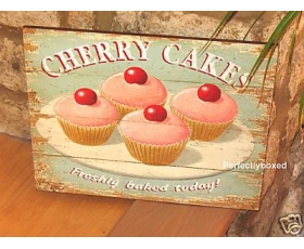 Wiscombe Wall Plaque Cupcakes Cherry Fairy Cakes Retro Sign