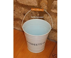 Enamel Storage Bucket Pail Sweets Blue Kitchen Pot Retro Style