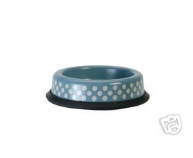 Pet Puppy Cat Bowl Small Polka Dots Chinese Blue Garden Trading