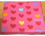 Pink Red Hearts Fleece Throw Blanket Fleecy Girls