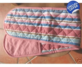 Double Oven Gloves Mits Pink Blue Stripe Gloves Retro Style