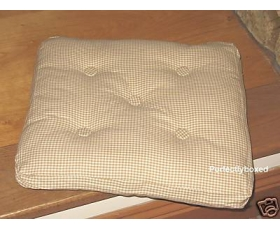 Seat Chair Pad Cushion Cream Gingham Check Window Garden Bench