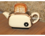 Toaster Miniature Teapot Cream Retro Ceramic Col..