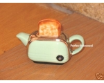 Toaster Miniature Teapot Green Retro Ceramic Col..
