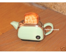 Toaster Miniature Teapot Green Retro Ceramic Collectable