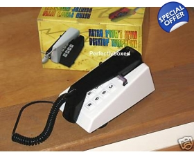Steepletone Trim Phone Black White Push Button 70s Retro