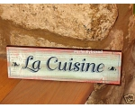 Wiscombe Door Sign La Cuisine Kitchen Retro Wood..