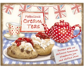Fabulous Cream Teas Metal Wall Sign Retro