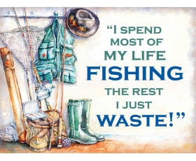 Fishing Metal Wall Sign Retro