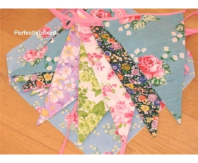 Floral Bunting English Roses Vintage Fabric 8m Party 15 Flags