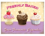 Freshly Baked Cupcakes Metal Wall Sign Retro