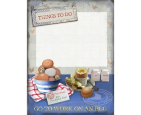 Go to Work on an Egg Memo Board Metal Wall Sign Retro