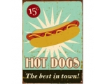Hot Dog Metal Wall Sign Retro