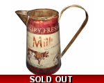 Dairy Fresh Milk Cow Rustic Jug 22cm Red Vintage..