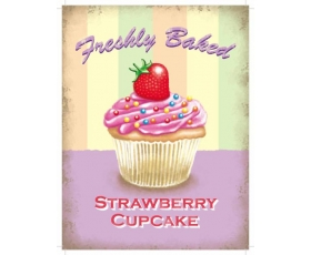Strawberry Cupcake Metal Wall Sign Retro