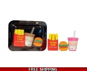 Take Away Food Erasers Rubbers Set of 2 Party Bag Fillers Gift