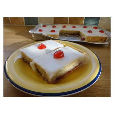 Iced Bakewell Tray Bake..