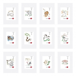 Personalise your Chinese Zodiac / Chinese ink painting Zodiac artworks / printed on rice paper