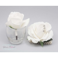 White Medium Rose Wrist Corsage & Boutonniere