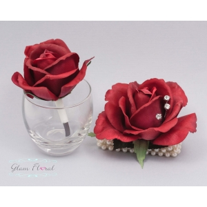 Red Medium Rose Wrist Corsage & Boutonniere