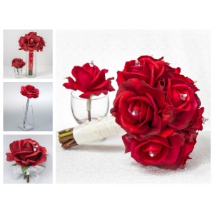 Red Rose Wedding Flower Package- 11 Piece