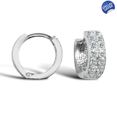 e7fac8964 Ladies Solid 9ct White Gold White Round Brilliant Cubic Zirconia 2 Row  Eternity 4mm Huggie Hoop ...
