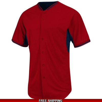 Majestic BP full button Baseball Jersey red/navy