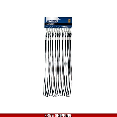 Champro A324 Whistle Lanyards SET OF 12 Black