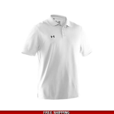 Under Armour Mens Loose Fit HG Polo Shirt WHITE 1233723 LARGE