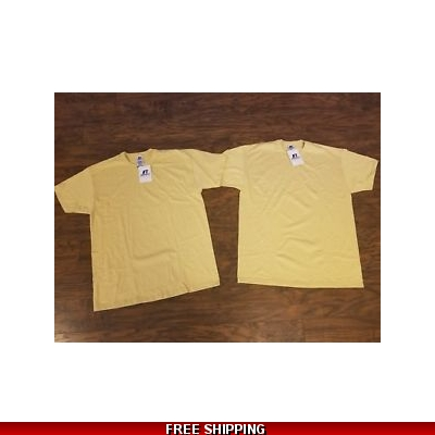 Russell mens 50/50 Cotton/Poly tee Vegas Gold size LARGE short sleeve